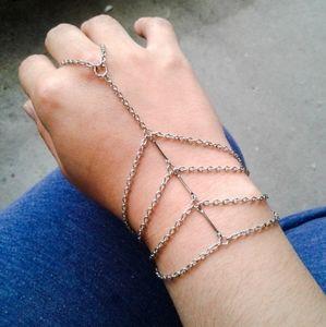 Sterling Silver Caged Hand Chain Slave Bracelet